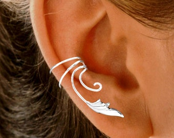 Ear Charms® Delicate Leaf Ear Cuff Non-pierced Earring Wrap Climber Pair Stacks for SINGLE FULL Ear Solid Sterling Silver, Gold or Rhodium