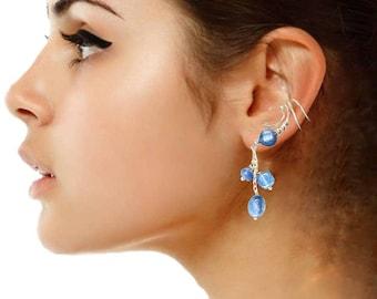 Ear Cuff Non-pierced Earring Wrap with Genuine Kyanite Multi Shape Dangle Drop Sterling Silver #3SD-KY