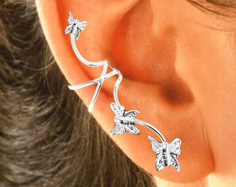 Ear Charms® Ear Cuff Non-pierced Earring Climbers Full Ear with 3 Butterflies in Sterling Silver OR Gold or Rhodium over Silver, Great Gift