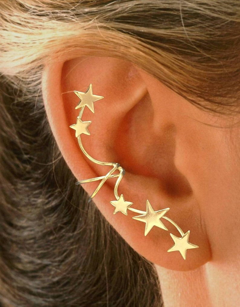 Ear Charms® Ear Cuff Non-pierced Earring Wrap 5 Star Full Ear image 0