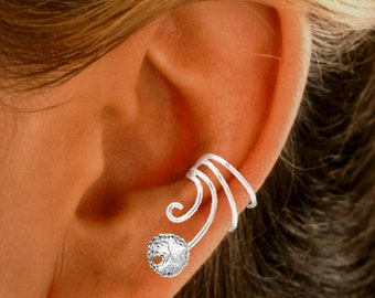 Ear Charms® Wave™ Sand Dollar Ear Cuff Non-pierced Earring Wraps, Comfortable, Adjustable, Stack-able in Sterling Silver or Gold Over Silver