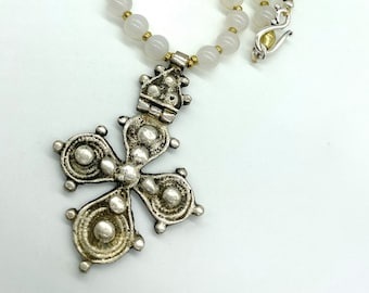 White agate and hinged Ethiopian cross necklace