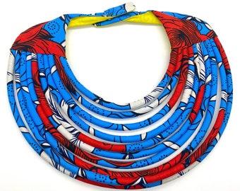 Handmade floral fabric Kenyan statement necklace