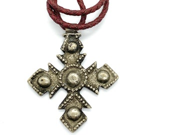 Vintage Coptic cross// red leather cord