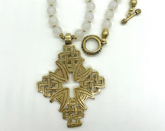 White agate and brass Ethiopian cross necklace