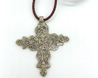 Ethiopian Coptic cross// red woven leather