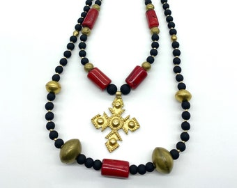 Brass: glass: coral: huge statement necklace