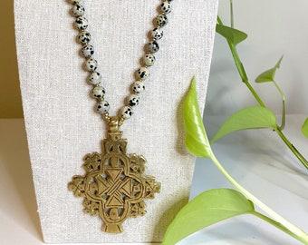 Dalmatian jasper Ethiopian brass cross necklace