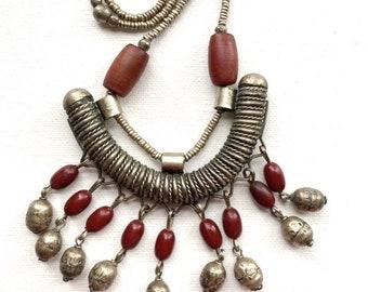 Vintage Ethiopian statement tassel necklace