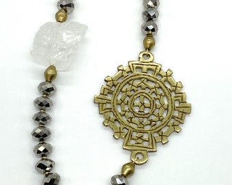 Titanium plated crystal beads//brass Lalibela cross necklace