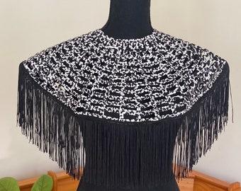 Handmade black and white tassel bib necklace