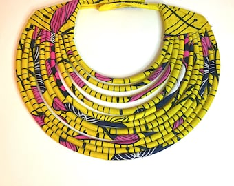 Bee yellow multi strand fabric Kenyan statement necklace