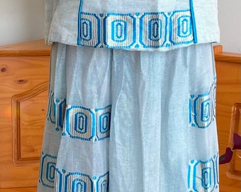 Blue iridescent Ethiopian corset top, two piece combo