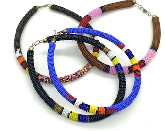 Color pop seed bead collars
