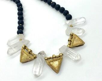 Handcrafted Ethiopian Telsum amulets and quartz necklace