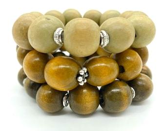::Wooden stretch bracelets::
