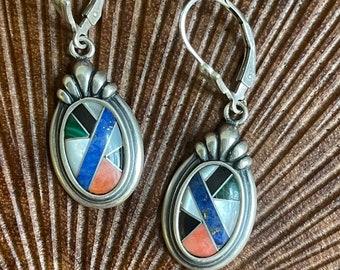 Vintage gemstone inlay earrings