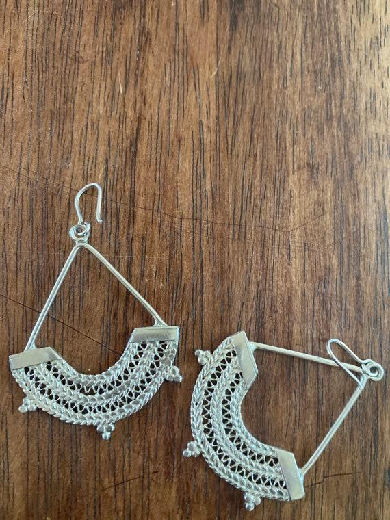 Sterling Silver Ethiopian chandelier earrings - image 6
