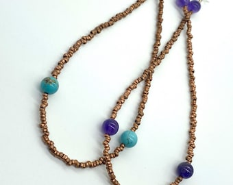 Ethiopian copper reishi bead earrings
