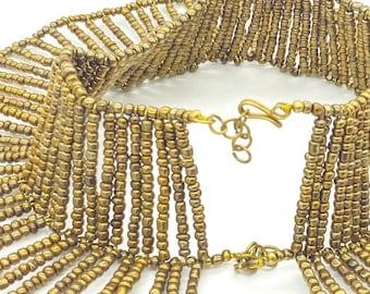 Handmade golden Cleopatra bead choker
