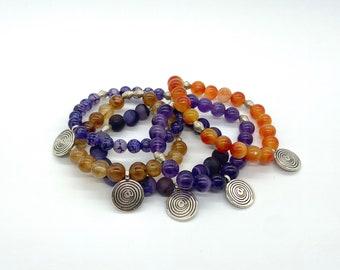 Spiral charm gemstone bracelet