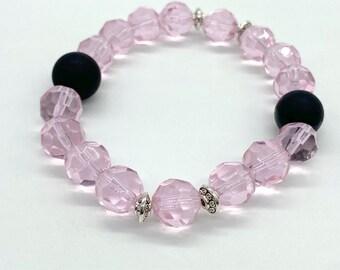 Soft pink faceted glass stretch bracelet