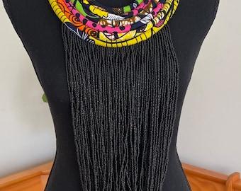 Long Kenyan beaded statement necklace