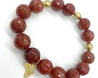 Agate gemstone//brass Africa charm stretch bracelet
