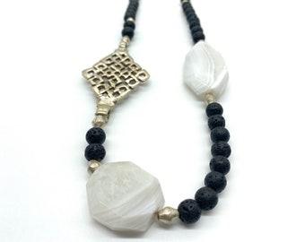 Ethiopian cross//Botswana Agate//lava bead necklace