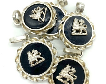 Hand made sterling silver and onyx Lion of Judah pendants