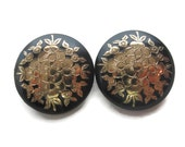 Daisy Flower Earrings 18K Gold Leafing on Black Lucite Hand Painted Vintage Made in France (AB 257)