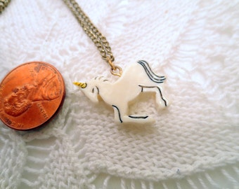 Vintage rhinestone Necklace, pretty White unicorn pendant and gold tone chain, vintage jewelry costume jewellery