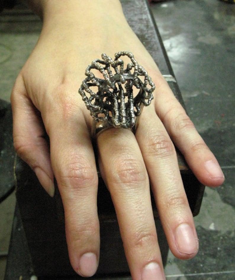 Tendrillar Cluster Ring in Sterling Silver