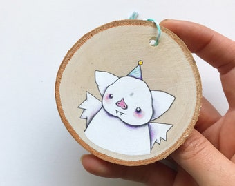 Party Bat Ornament. One of a kind little painting.