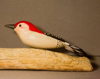 Red Bellied Woodpecker - sitting. Handcrafted, carved  wooden bird, painted bird, home decor, table  decor, Made in USA