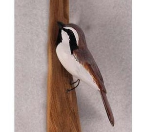 Black Throated Sparrow - left facing. Handcrafted, carved  wooden bird, painted bird, home decor, wall decor, Made in USA