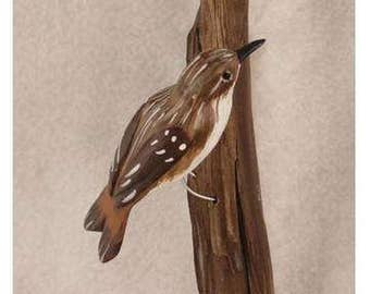 Brown Creeper - right facing. Handcrafted, carved  wooden bird, painted bird, home decor, wall decor, Made in USA