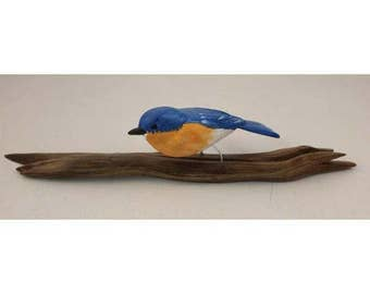 Bluebird - sitting. Handcrafted, carved  wooden bird, painted bird, home decor, table  decor, Made in USA