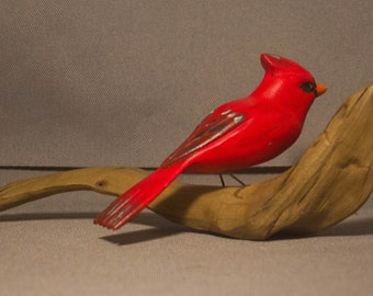Cardinal - sitting. Handcrafted, carved  wooden bird, painted bird, home decor, table  decor, Made in USA