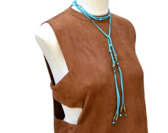 turquoise leather wrap choker / wrap necklace / turquoise choker / boho necklace / suede leather choker / extra long necklace