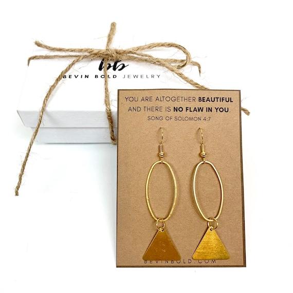 forged brass duster earrings Geometric brass paddle fringe drop earrings brass earrings boho modern bohemian gifts for her
