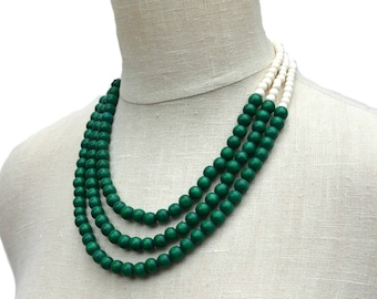 green necklace / green beaded necklace / green bridesmaid necklace / forest green necklace / kelly green statement necklace / green & white