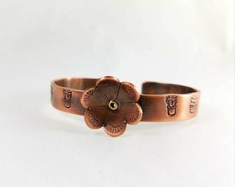 Cactus Flower copper cuff