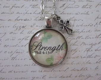 Strength Phil 4:13 Vintage Rose Glass Pendant Necklace With Silver Cross Charm
