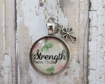 Strength Psalm 73:26 Vintage Rose Glass Pendant Necklace With Silver Cross Charm