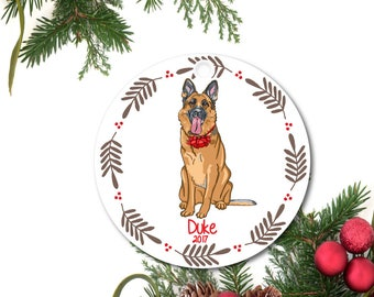 German Shepherd Ornament, Pet Ornament, Personalized Dog Ornament, German Shepherd Gift, Custom Dog Ornament, Ceramic Ornament, Pet Gift