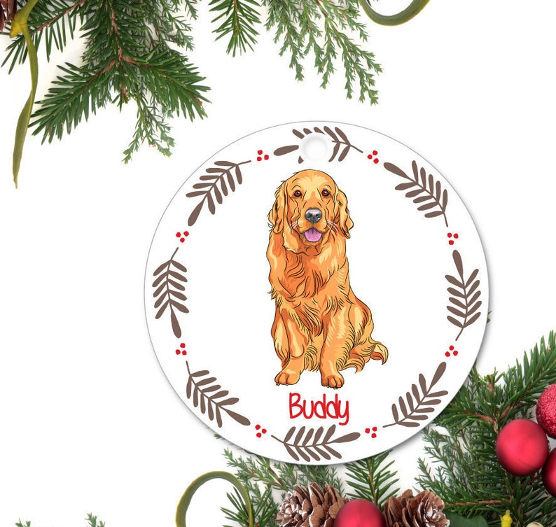 c1be7794658 Golden Retriever Ornament Personalized Christmas Ornament | Etsy