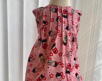 6-12 m- Oriental Doll Dress Smock Dress | Girls Smock | aline | Formal Dress | Pinafore Dress | Vintage Clothing