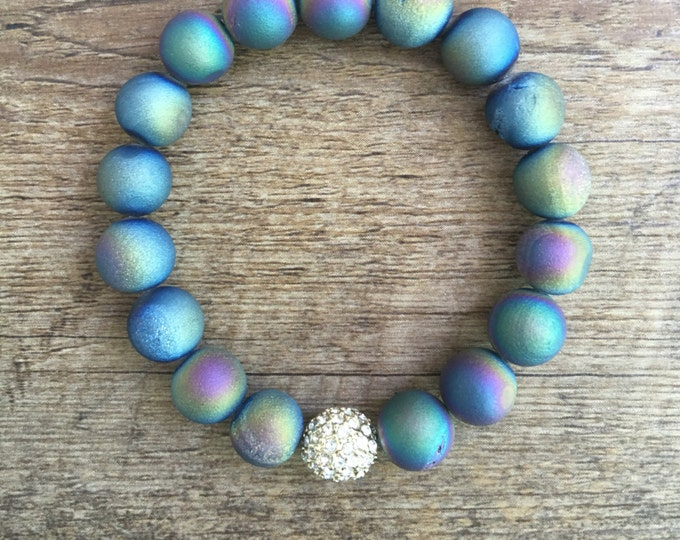 Rainbow Druzy Bracelet, Pave Bracelet, Stretch 10mm Bead Bracelet
