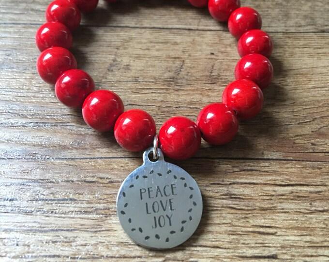 Peace, Love, Joy Bracelet, fruits of the spirit, stretch bracelet, beaded bracelet